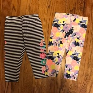 Lot of 2 Carter's 4T Cropped Leggings Floral